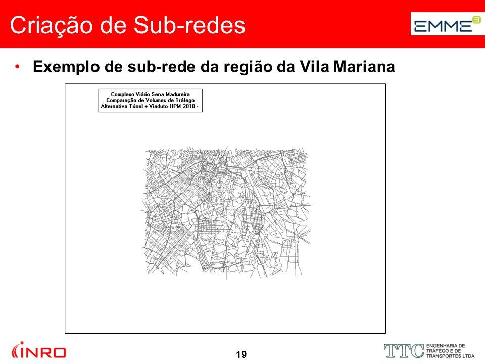 19 Exemplo de sub-rede da região da Vila Mariana Criação de Sub-redes