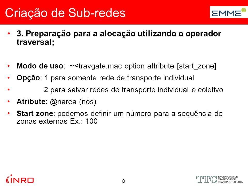 8 Criação de Sub-redes 3. Preparação para a alocação utilizando o operador traversal; Modo de uso: ~<travgate.mac option attribute [start_zone] Opção: