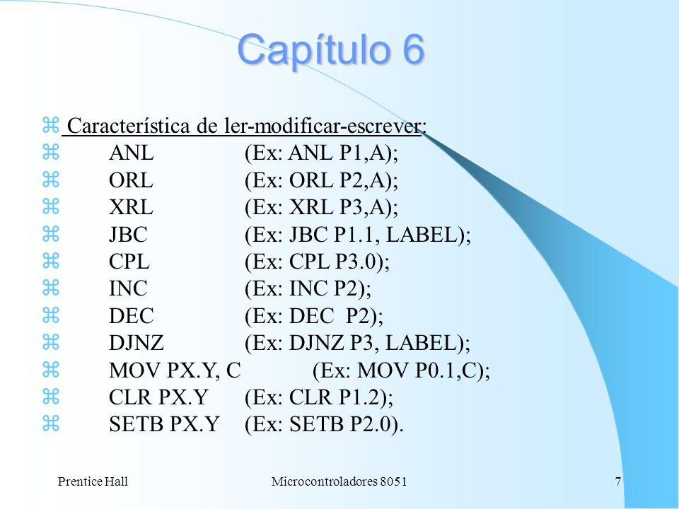 Prentice HallMicrocontroladores 80517 Capítulo 6 z Característica de ler-modificar-escrever: z ANL(Ex: ANL P1,A); ORL(Ex: ORL P2,A); XRL(Ex: XRL P3,A)