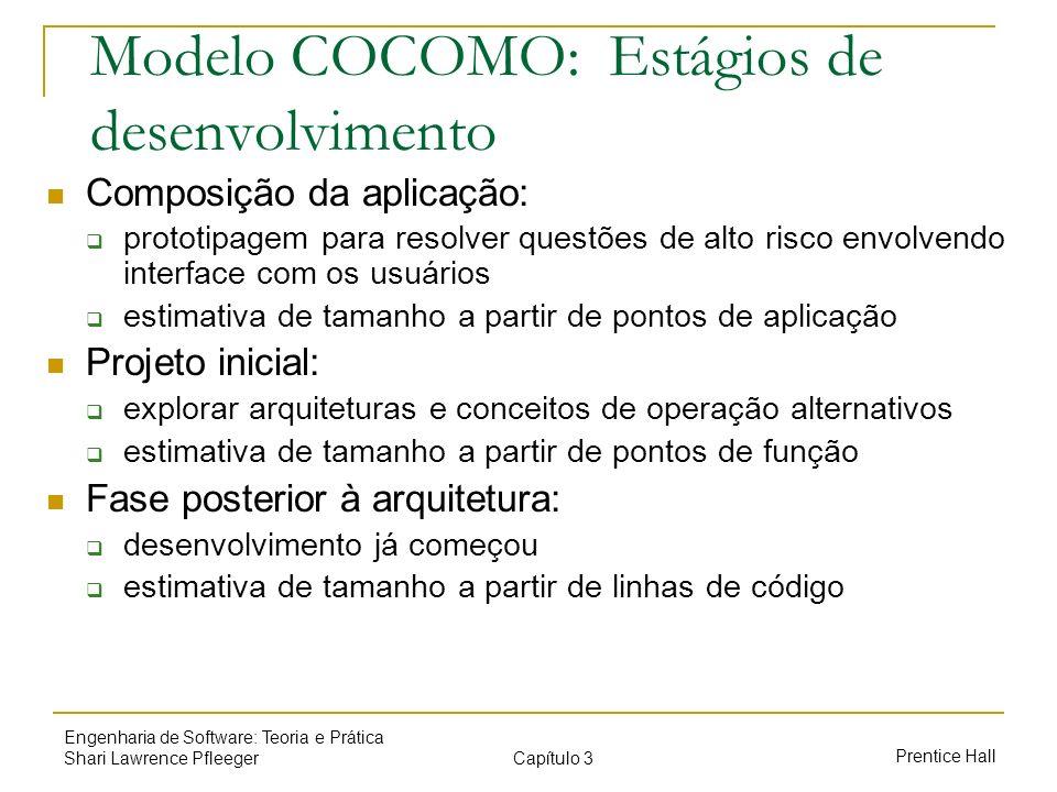 Capítulo 3 Prentice Hall Engenharia de Software: Teoria e Prática Shari Lawrence Pfleeger Modelo COCOMO: Estágios de desenvolvimento Composição da apl