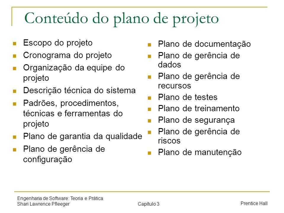 Capítulo 3 Prentice Hall Engenharia de Software: Teoria e Prática Shari Lawrence Pfleeger Conteúdo do plano de projeto Escopo do projeto Cronograma do