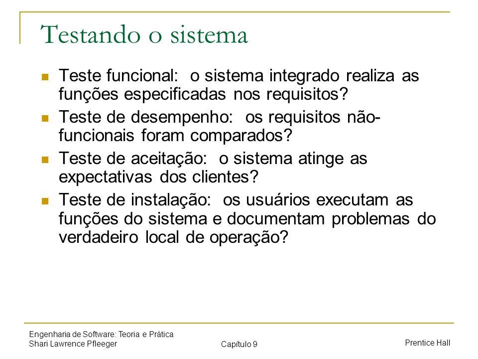 Prentice Hall Engenharia de Software: Teoria e Prática Shari Lawrence Pfleeger Capítulo 9 Testando o sistema Teste funcional: o sistema integrado real