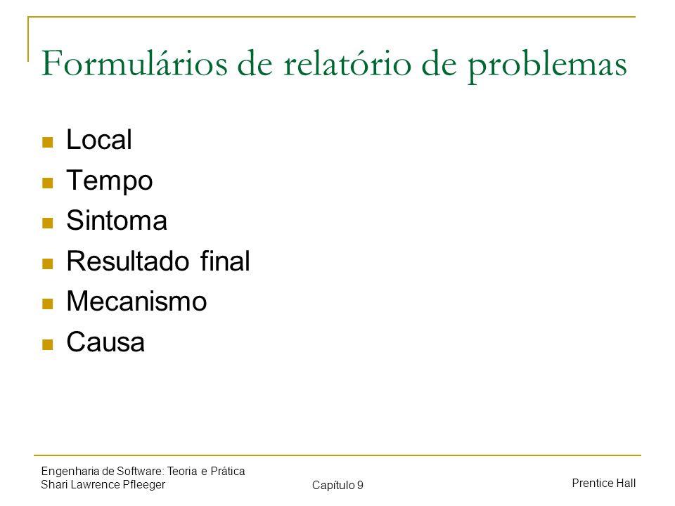 Prentice Hall Engenharia de Software: Teoria e Prática Shari Lawrence Pfleeger Capítulo 9 Formulários de relatório de problemas Local Tempo Sintoma Re