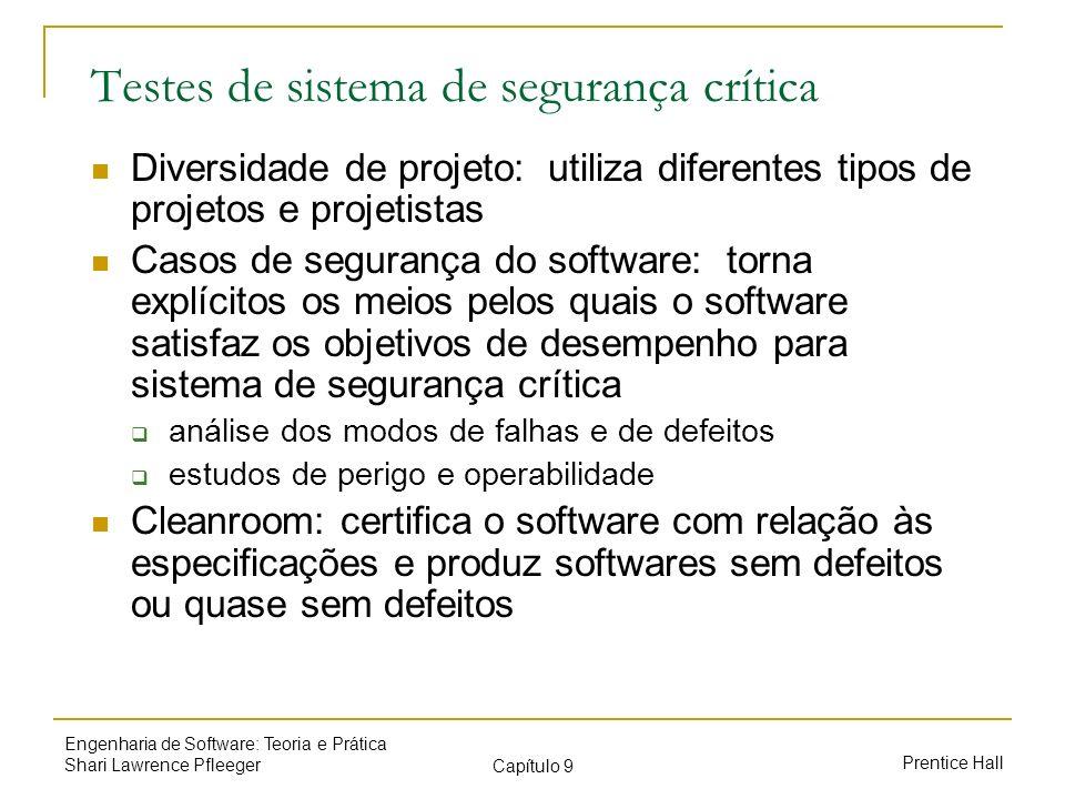 Prentice Hall Engenharia de Software: Teoria e Prática Shari Lawrence Pfleeger Capítulo 9 Testes de sistema de segurança crítica Diversidade de projet