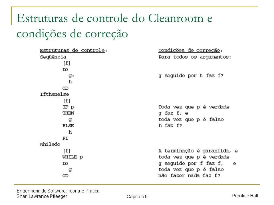 Prentice Hall Engenharia de Software: Teoria e Prática Shari Lawrence Pfleeger Capítulo 9 Estruturas de controle do Cleanroom e condições de correção