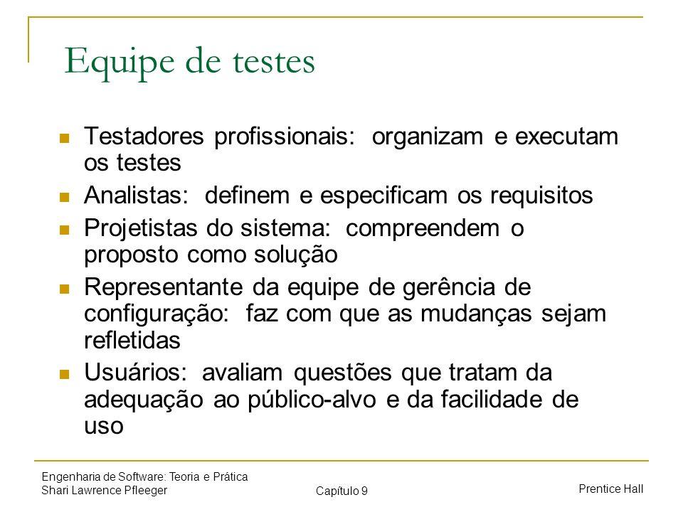 Prentice Hall Engenharia de Software: Teoria e Prática Shari Lawrence Pfleeger Capítulo 9 Equipe de testes Testadores profissionais: organizam e execu