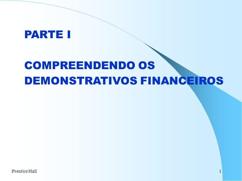 Prentice Hall1 PARTE I COMPREENDENDO OS DEMONSTRATIVOS FINANCEIROS