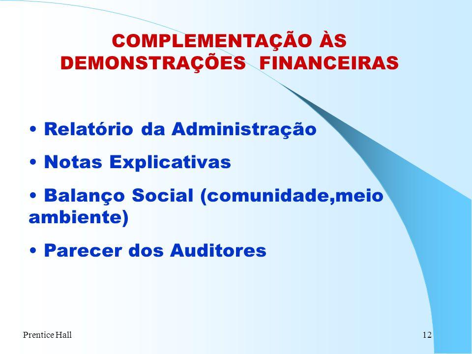 Prentice Hall12 COMPLEMENTAÇÃO ÀS DEMONSTRAÇÕES FINANCEIRAS Relatório da Administração Notas Explicativas Balanço Social (comunidade,meio ambiente) Pa