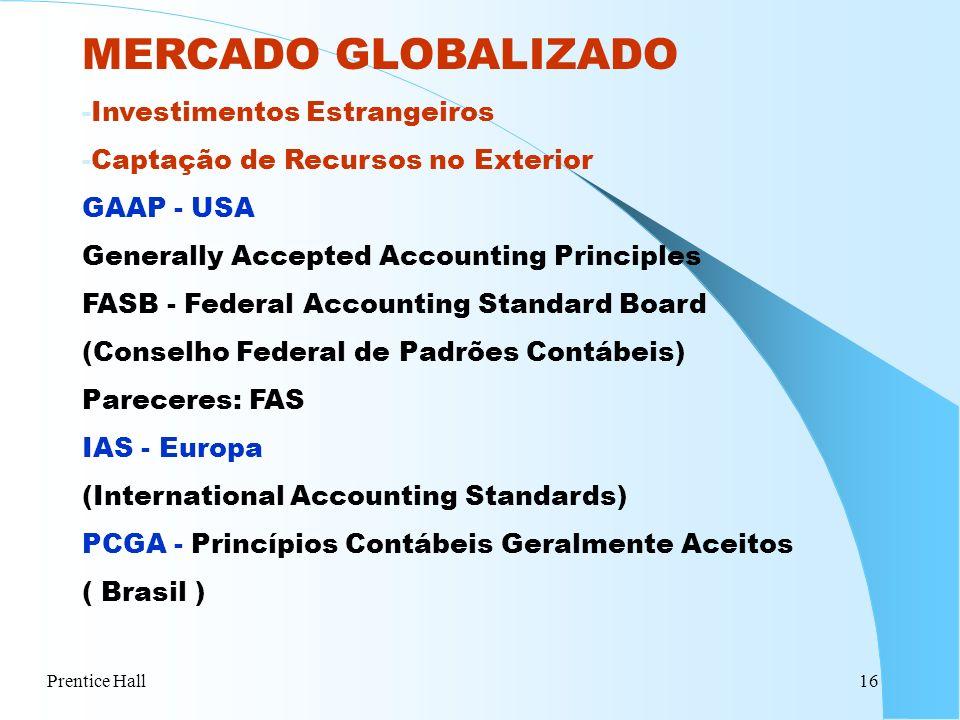 Prentice Hall16 MERCADO GLOBALIZADO -Investimentos Estrangeiros -Captação de Recursos no Exterior GAAP - USA Generally Accepted Accounting Principles