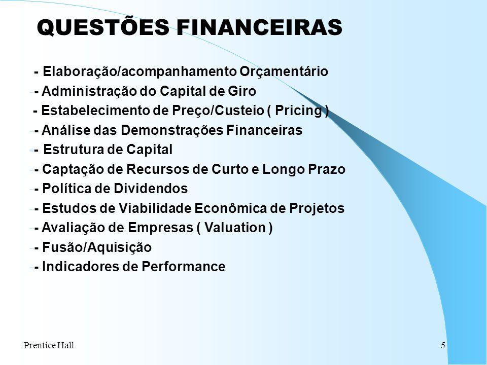 Prentice Hall5 QUESTÕES FINANCEIRAS - Elaboração/acompanhamento Orçamentário -- Administração do Capital de Giro - Estabelecimento de Preço/Custeio (
