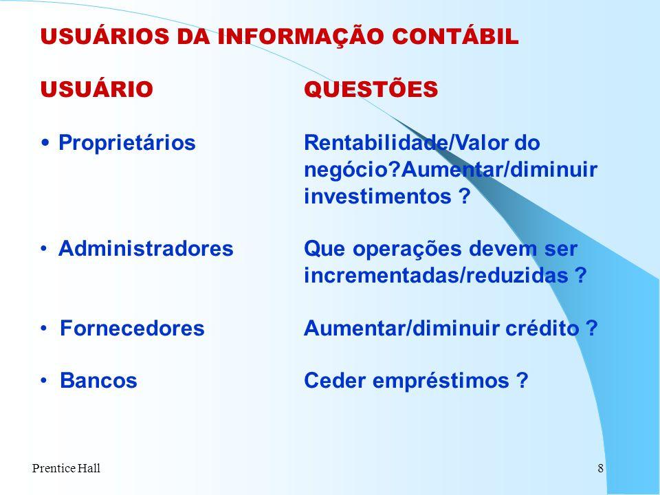 Prentice Hall9 USUÁRIOS DA INFORMAÇÃO CONTÁBIL USUÁRIOQUESTÕES GovernoIR calculado corretamente .