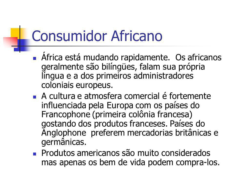 Consumidor Africano África está mudando rapidamente. Os africanos geralmente são bilíngües, falam sua própria língua e a dos primeiros administradores