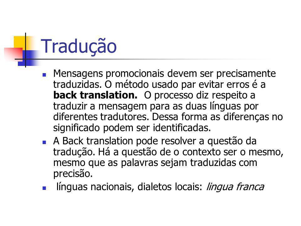 Tradução Mensagens promocionais devem ser precisamente traduzidas. O método usado par evitar erros é a back translation. O processo diz respeito a tra