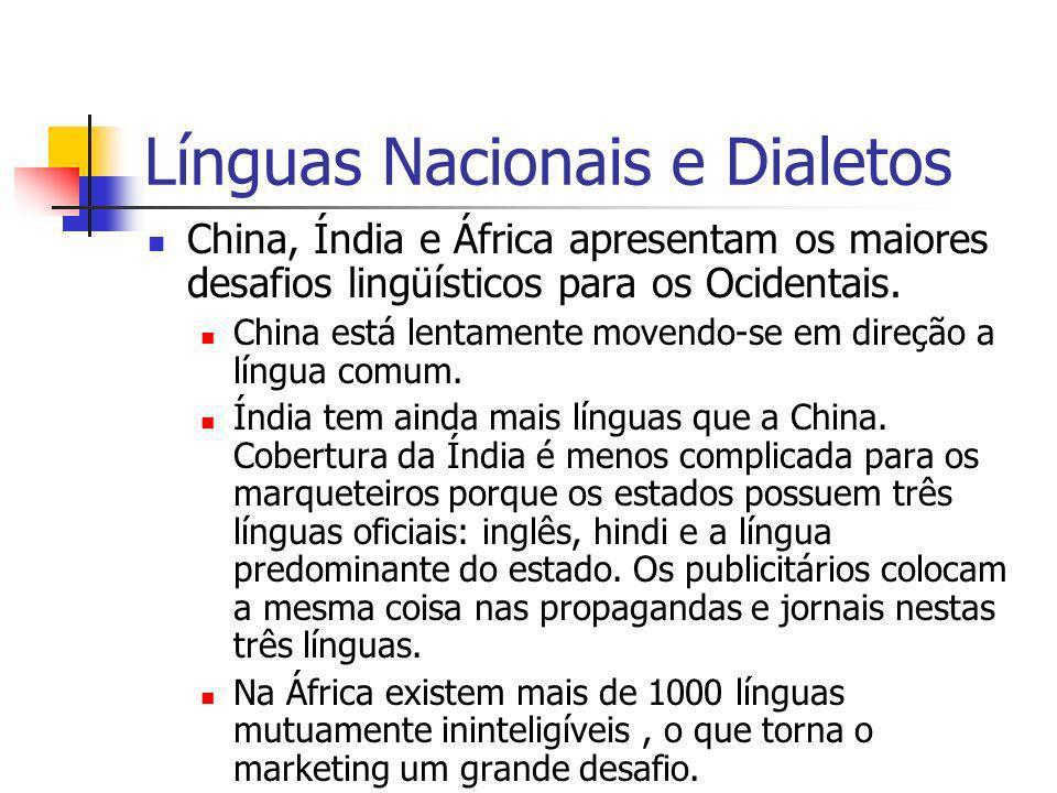 Línguas Nacionais e Dialetos China, Índia e África apresentam os maiores desafios lingüísticos para os Ocidentais. China está lentamente movendo-se em