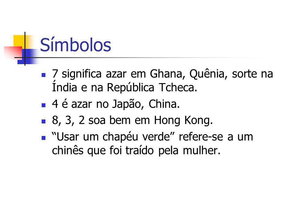 Símbolos 7 significa azar em Ghana, Quênia, sorte na Índia e na República Tcheca. 4 é azar no Japão, China. 8, 3, 2 soa bem em Hong Kong. Usar um chap