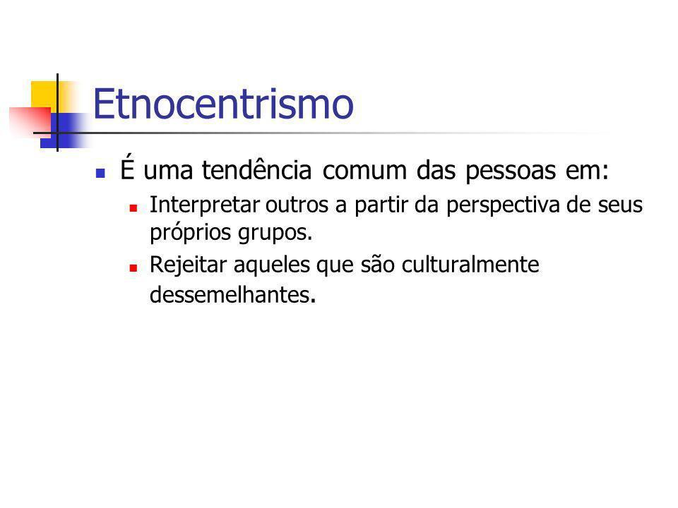Etnocentrismo É uma tendência comum das pessoas em: Interpretar outros a partir da perspectiva de seus próprios grupos. Rejeitar aqueles que são cultu