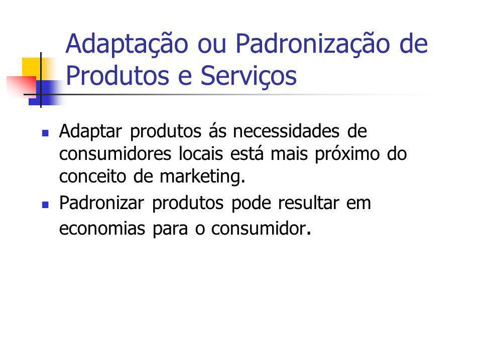Adaptação ou Padronização de Produtos e Serviços Adaptar produtos ás necessidades de consumidores locais está mais próximo do conceito de marketing. P