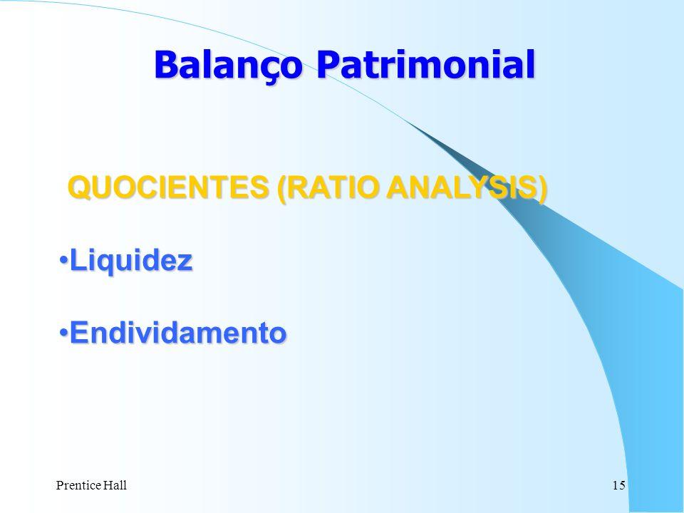 Prentice Hall15 Balanço Patrimonial QUOCIENTES (RATIO ANALYSIS) LiquidezLiquidez EndividamentoEndividamento
