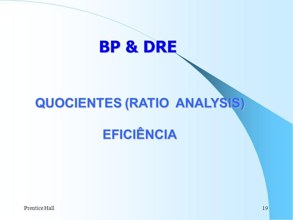Prentice Hall19 BP & DRE QUOCIENTES (RATIO ANALYSIS) EFICIÊNCIA EFICIÊNCIA