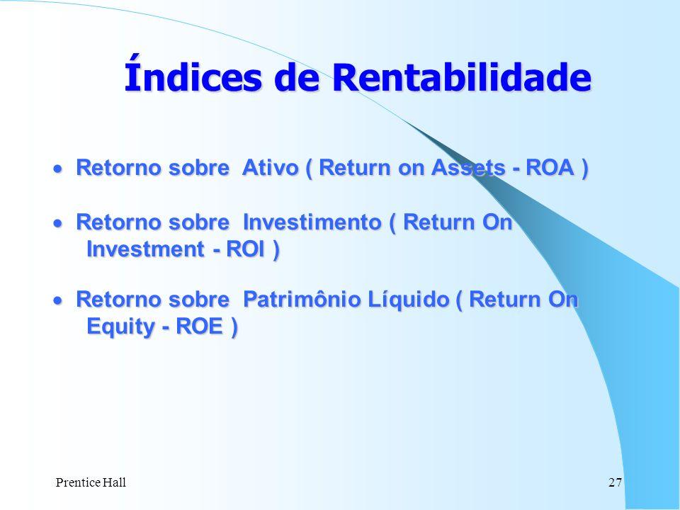Prentice Hall27 Índices de Rentabilidade Retorno sobre Ativo ( Return on Assets - ROA ) Retorno sobre Ativo ( Return on Assets - ROA ) Retorno sobre I