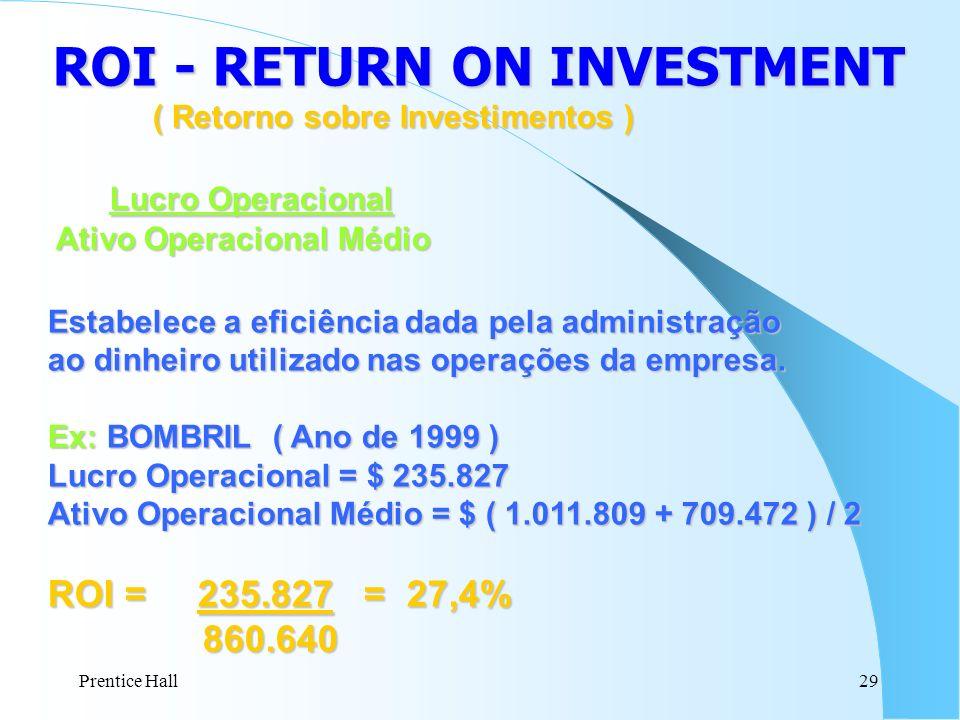 Prentice Hall29 ROI - RETURN ON INVESTMENT ( Retorno sobre Investimentos ) Lucro Operacional Lucro Operacional Ativo Operacional Médio Ativo Operacion