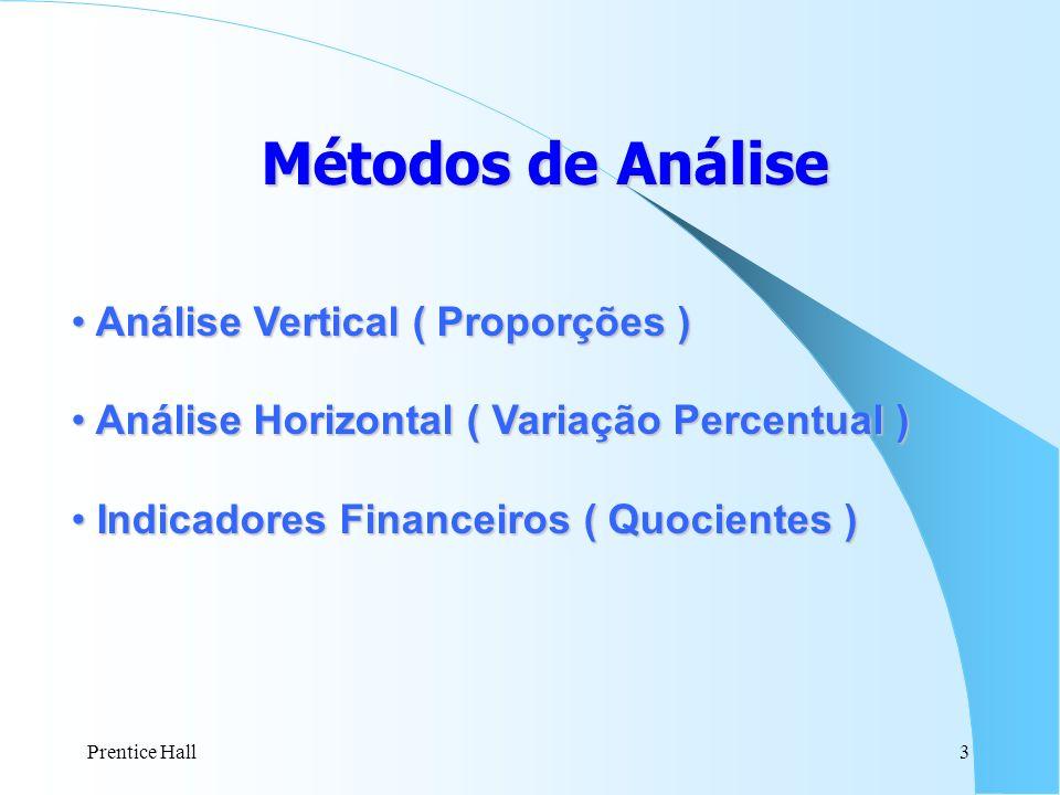 Prentice Hall3 Métodosde Análise Métodos de Análise Análise Vertical ( Proporções ) Análise Vertical ( Proporções ) Análise Horizontal ( Variação Perc