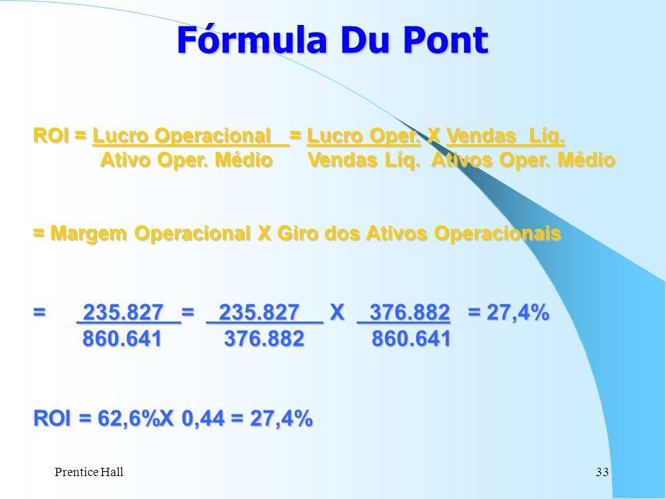 Prentice Hall33 Fórmula Du Pont ROI = Lucro Operacional = Lucro Oper. X Vendas Líq. Ativo Oper. Médio Vendas Líq. Ativos Oper. Médio Ativo Oper. Médio