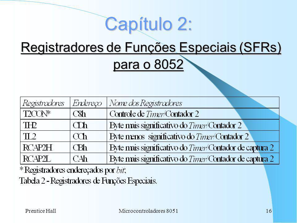 Prentice Hall16Microcontroladores 8051 Capítulo 2: Registradores de Funções Especiais (SFRs) para o 8052