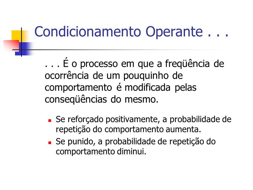 Condicionamento Operante...... É o processo em que a freqüência de ocorrência de um pouquinho de comportamento é modificada pelas conseqüências do mes