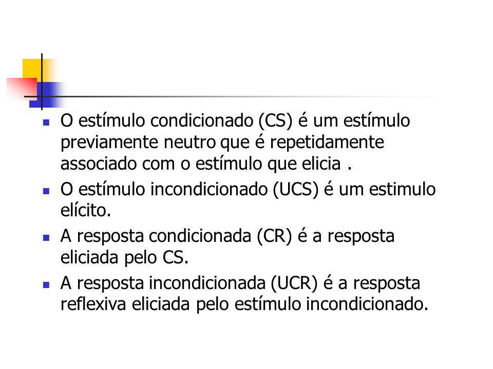 O estímulo condicionado (CS) é um estímulo previamente neutro que é repetidamente associado com o estímulo que elicia. O estímulo incondicionado (UCS)