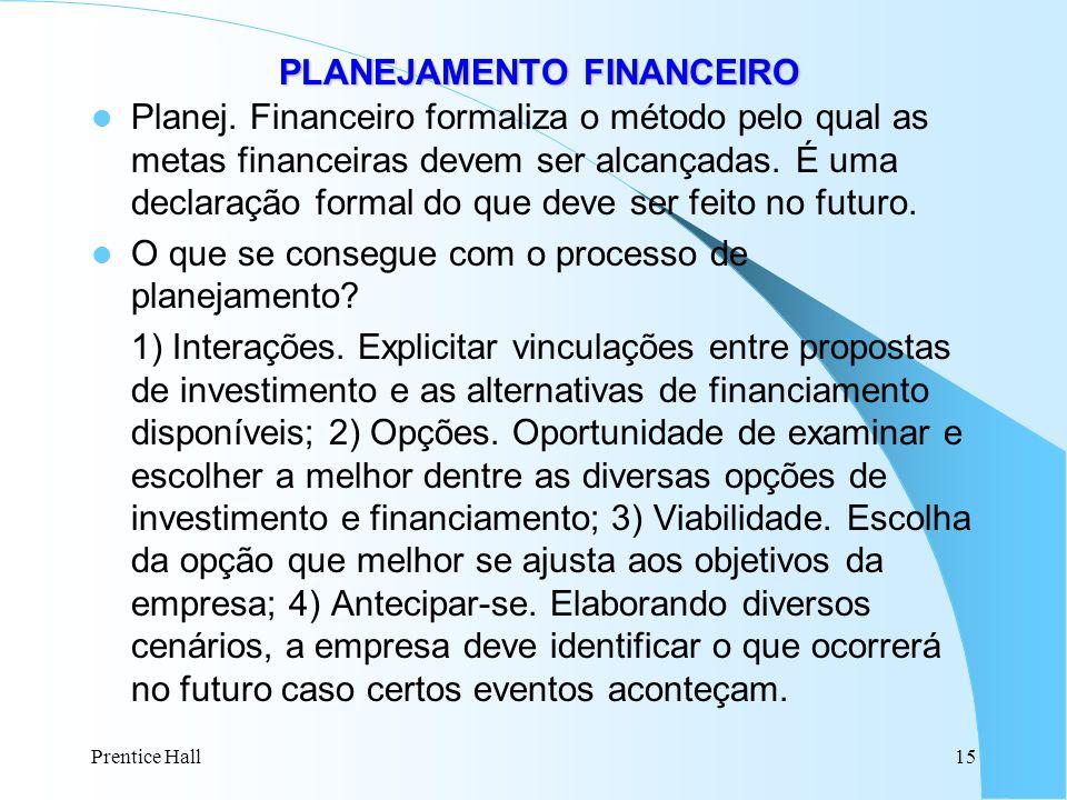 Prentice Hall15 PLANEJAMENTO FINANCEIRO PLANEJAMENTO FINANCEIRO Planej. Financeiro formaliza o método pelo qual as metas financeiras devem ser alcança