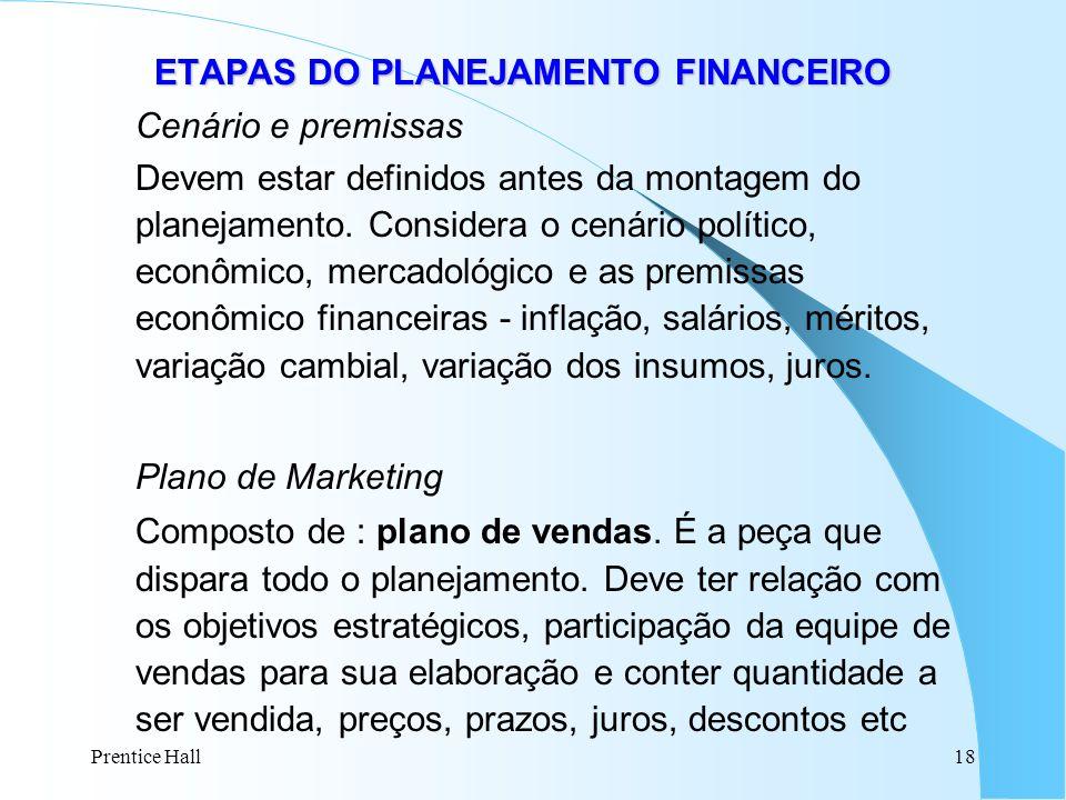 Prentice Hall18 ETAPAS DO PLANEJAMENTO FINANCEIRO ETAPAS DO PLANEJAMENTO FINANCEIRO Cenário e premissas Devem estar definidos antes da montagem do pla