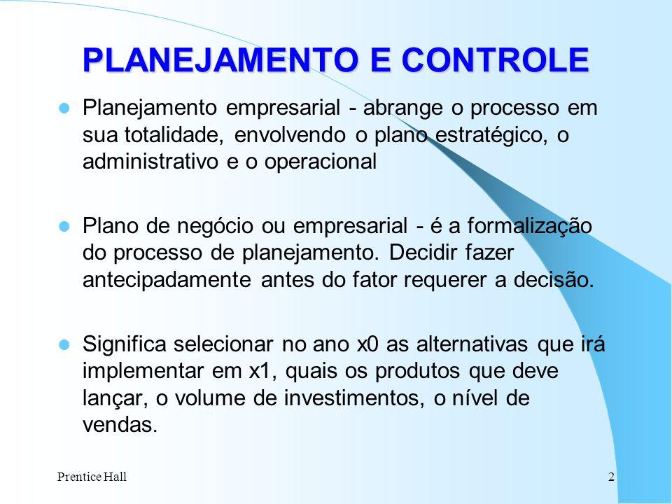 Prentice Hall2 Planejamento empresarial - abrange o processo em sua totalidade, envolvendo o plano estratégico, o administrativo e o operacional Plano