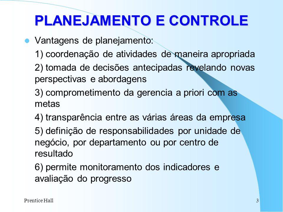 Prentice Hall3 Vantagens de planejamento: 1) coordenação de atividades de maneira apropriada 2) tomada de decisões antecipadas revelando novas perspec