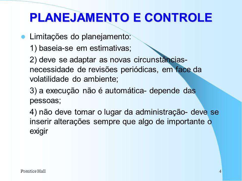Prentice Hall4 Limitações do planejamento: 1) baseia-se em estimativas; 2) deve se adaptar as novas circunstâncias- necessidade de revisões periódicas