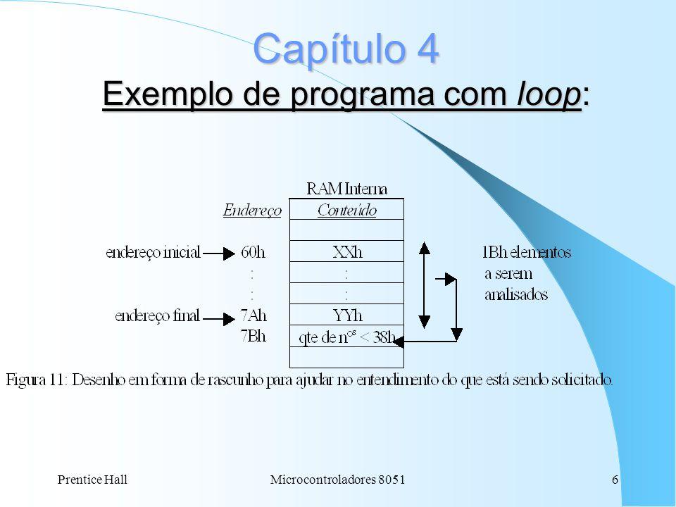 Prentice HallMicrocontroladores 80516 Capítulo 4 Exemplo de programa com loop: