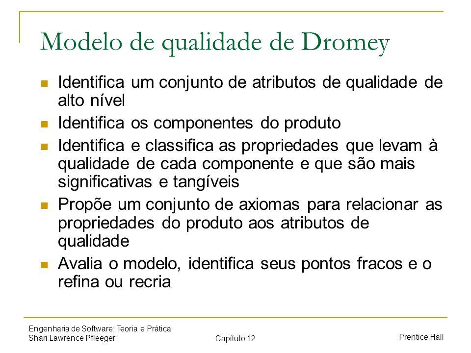 Prentice Hall Engenharia de Software: Teoria e Prática Shari Lawrence Pfleeger Capítulo 12 Modelo de qualidade de Dromey Identifica um conjunto de atr