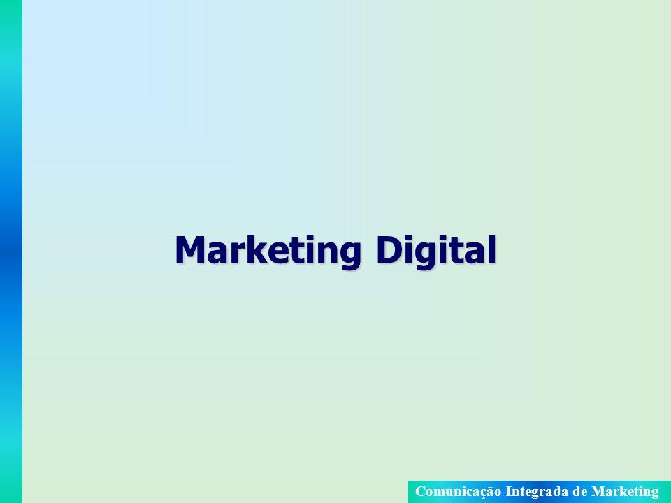 Comunicação Integrada de Marketing Objetivo do Marketing Digital Usar o poder da rede mundial de computadores interconectados para realizar um novo tipo de comunicação e de relacionamento com os consumidores (marketing interativo), onde o relacionamento é bidirecional, isto é, o consumidor não é passivo, mas sim ativo ao longo do processo.