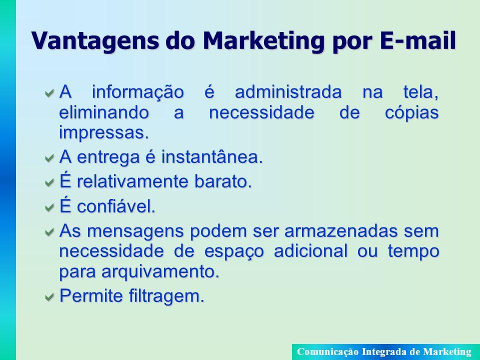 Comunicação Integrada de Marketing Vantagens do Marketing por E-mail A informação é administrada na tela, eliminando a necessidade de cópias impressas