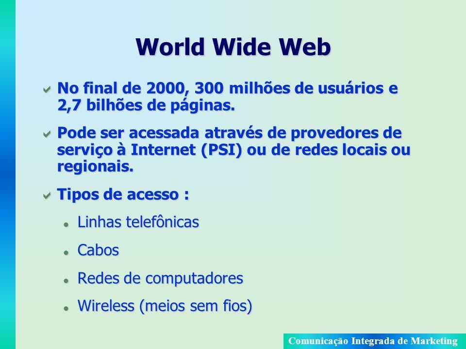 Comunicação Integrada de Marketing World Wide Web No final de 2000, 300 milhões de usuários e 2,7 bilhões de páginas. No final de 2000, 300 milhões de