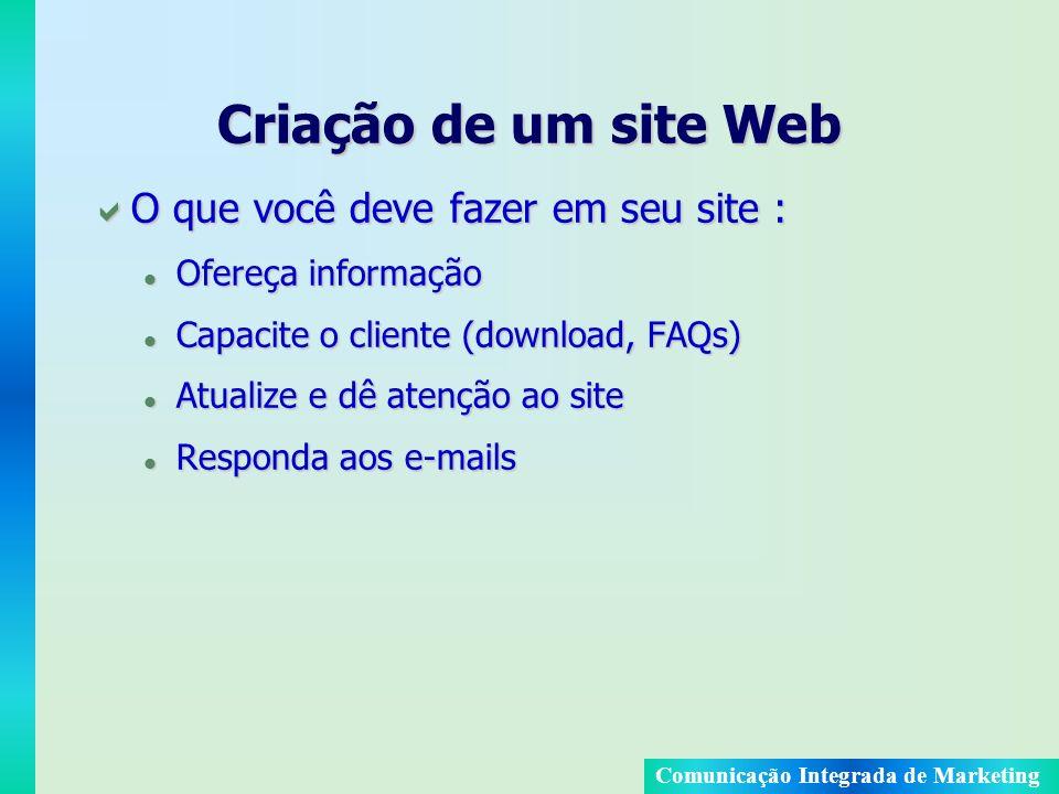 Comunicação Integrada de Marketing Criação de um site Web O que você deve fazer em seu site : O que você deve fazer em seu site : l Ofereça informação