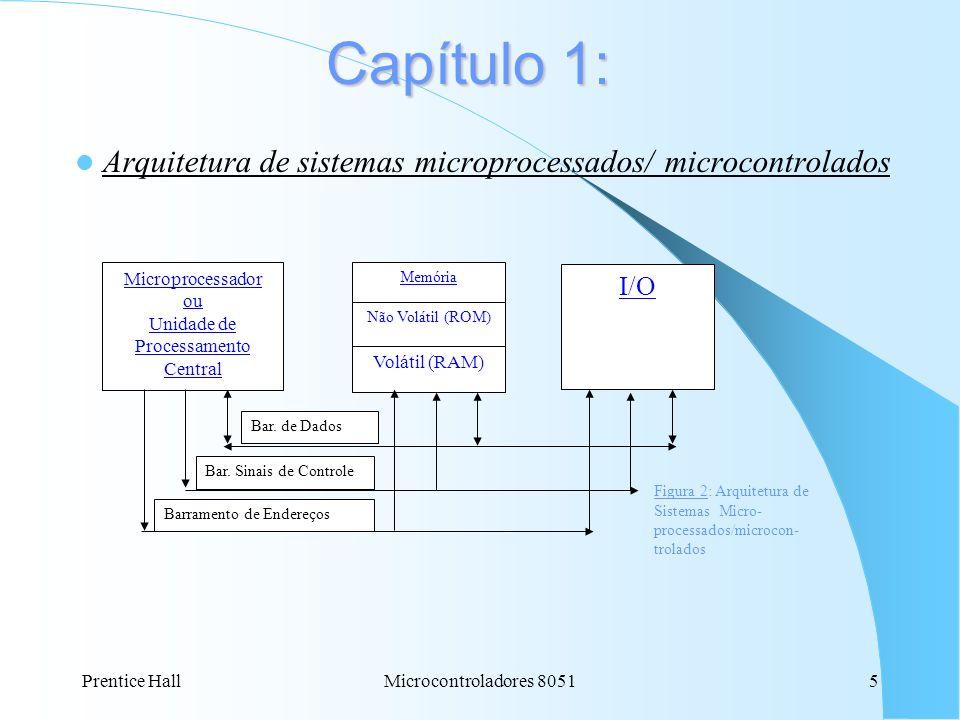 Prentice HallMicrocontroladores 80515 Capítulo 1: Arquitetura de sistemas microprocessados/ microcontrolados Microprocessador ou Unidade de Processame