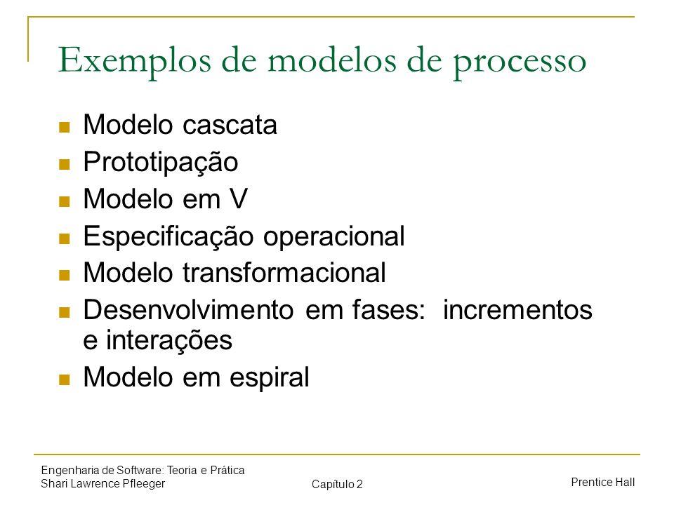 Prentice Hall Engenharia de Software: Teoria e Prática Shari Lawrence Pfleeger Capítulo 2 Exemplos de modelos de processo Modelo cascata Prototipação