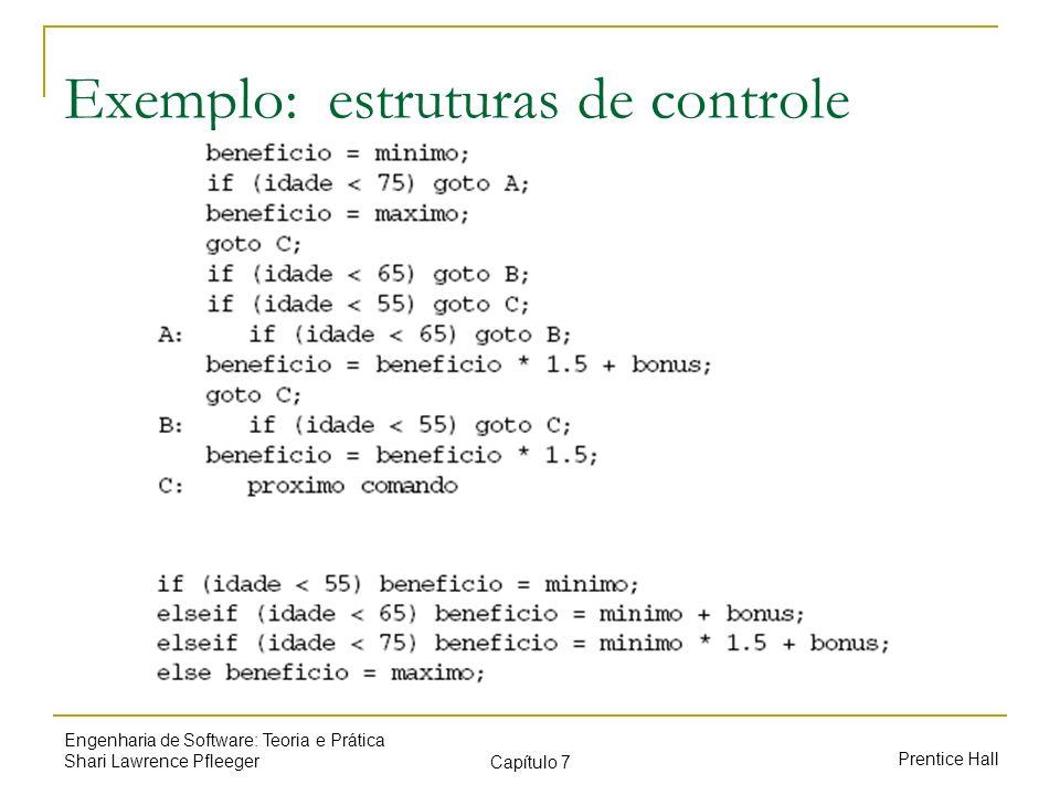Prentice Hall Engenharia de Software: Teoria e Prática Shari Lawrence Pfleeger Capítulo 7 Exemplo: estruturas de controle