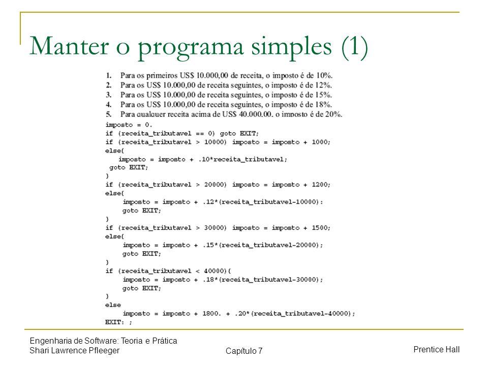Prentice Hall Engenharia de Software: Teoria e Prática Shari Lawrence Pfleeger Capítulo 7 Manter o programa simples (1)