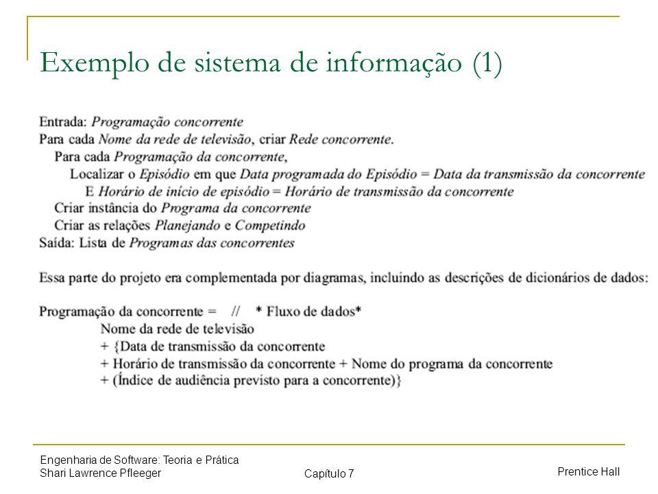Prentice Hall Engenharia de Software: Teoria e Prática Shari Lawrence Pfleeger Capítulo 7 Exemplo de sistema de informação (1)