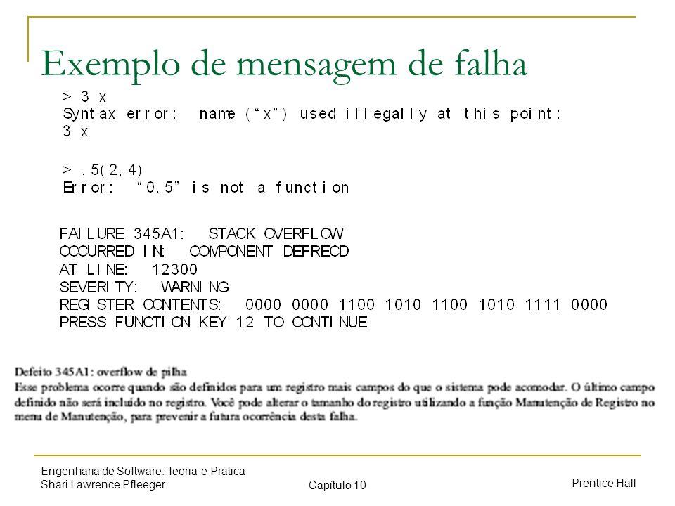 Prentice Hall Engenharia de Software: Teoria e Prática Shari Lawrence Pfleeger Capítulo 10 Exemplo de mensagem de falha