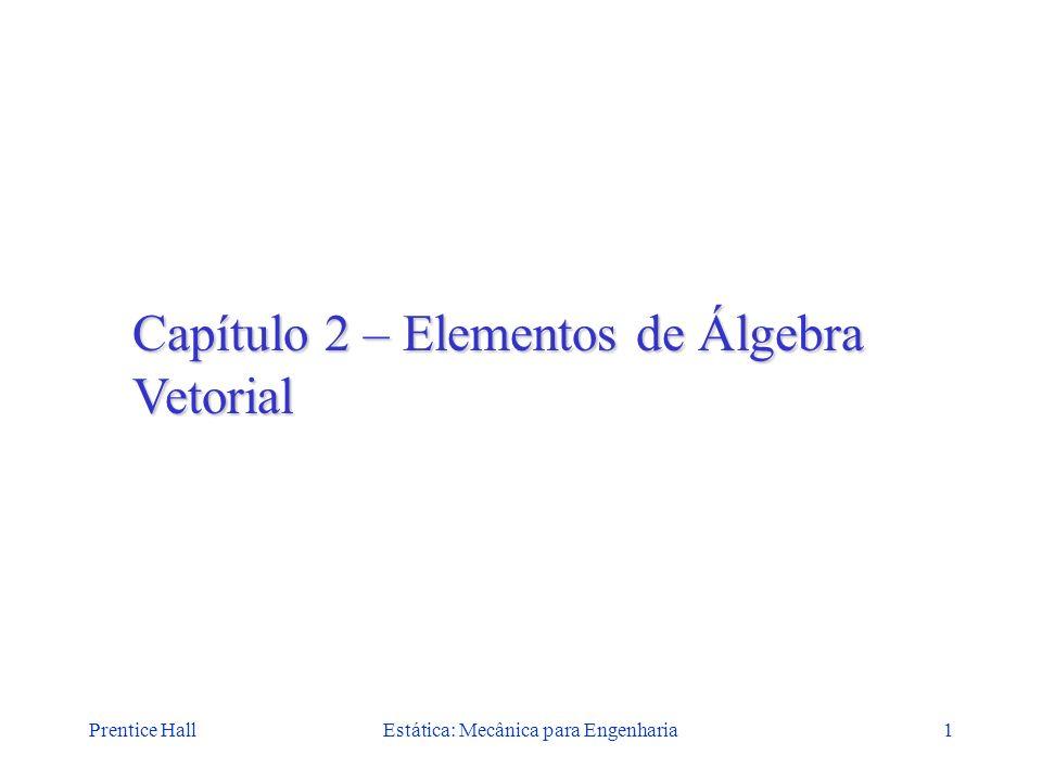 Prentice HallEstática: Mecânica para Engenharia1 Capítulo 2 – Elementos de Álgebra Vetorial