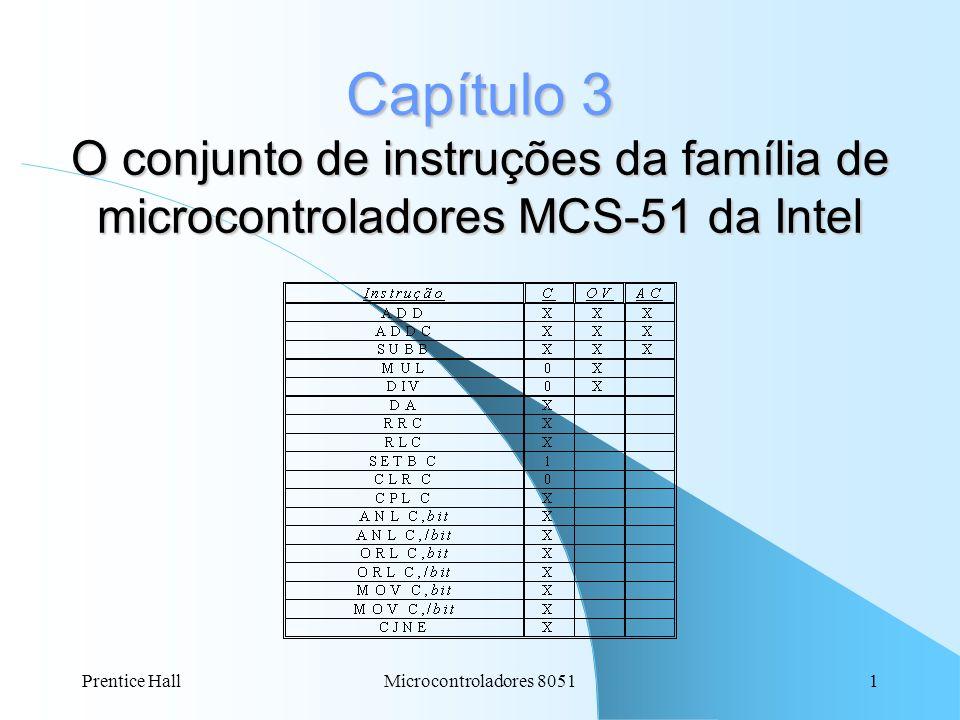 Prentice HallMicrocontroladores 80512 Capítulo 3: (C) = Carry-bit flag = vai 0/1 do bit 7 após operações aritméticas (AC) = Auxiliar Carry-bit flag = vai 0/1 do bit 3 após operações aritméticas (F0) = Flag 0 = propósito geral (RS1) e (RS0) = Register Bank Select = Selecionadores do banco de registradores (B0-B3) (OV) = Over-flow flag = (vai 0/1 do bit 7) OR-EX (vai 0/1 do bit 6) (P) = Parity flag = qte de números 1s no contéúdo do registrador Acumulador (A) ou (Acc): = 0 (qte de num 1s par) : Paridade Par = 1 (qte de num 1s ímpar) : Paridade Ímpar
