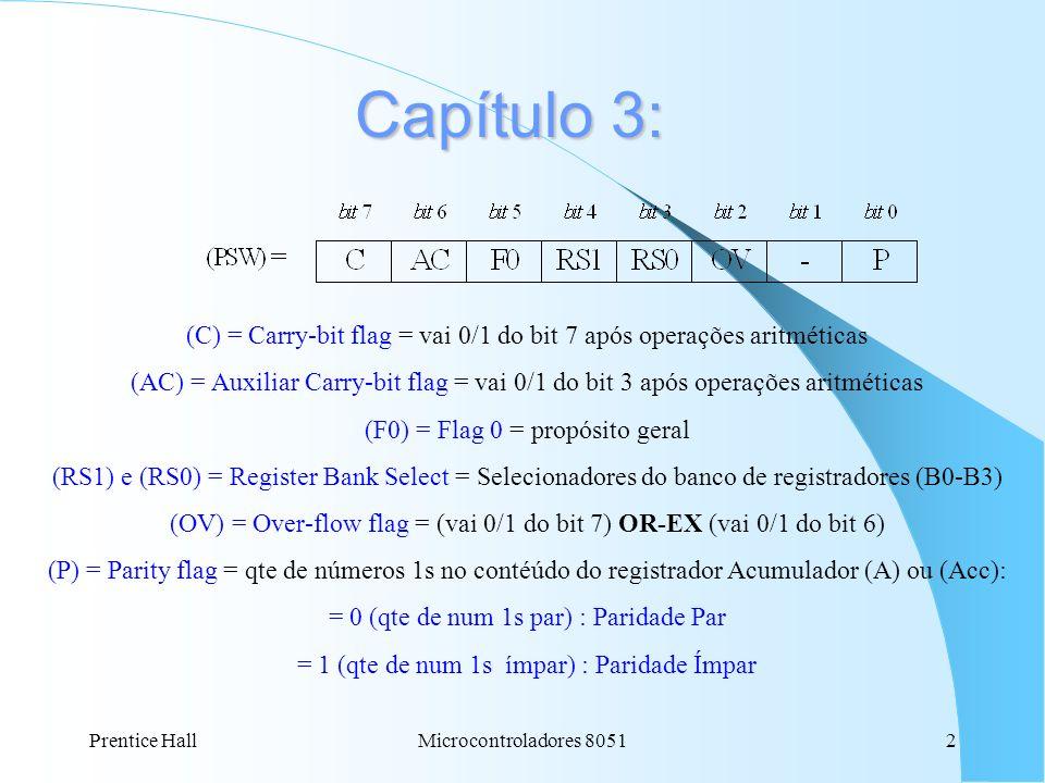 Prentice HallMicrocontroladores 80512 Capítulo 3: (C) = Carry-bit flag = vai 0/1 do bit 7 após operações aritméticas (AC) = Auxiliar Carry-bit flag =